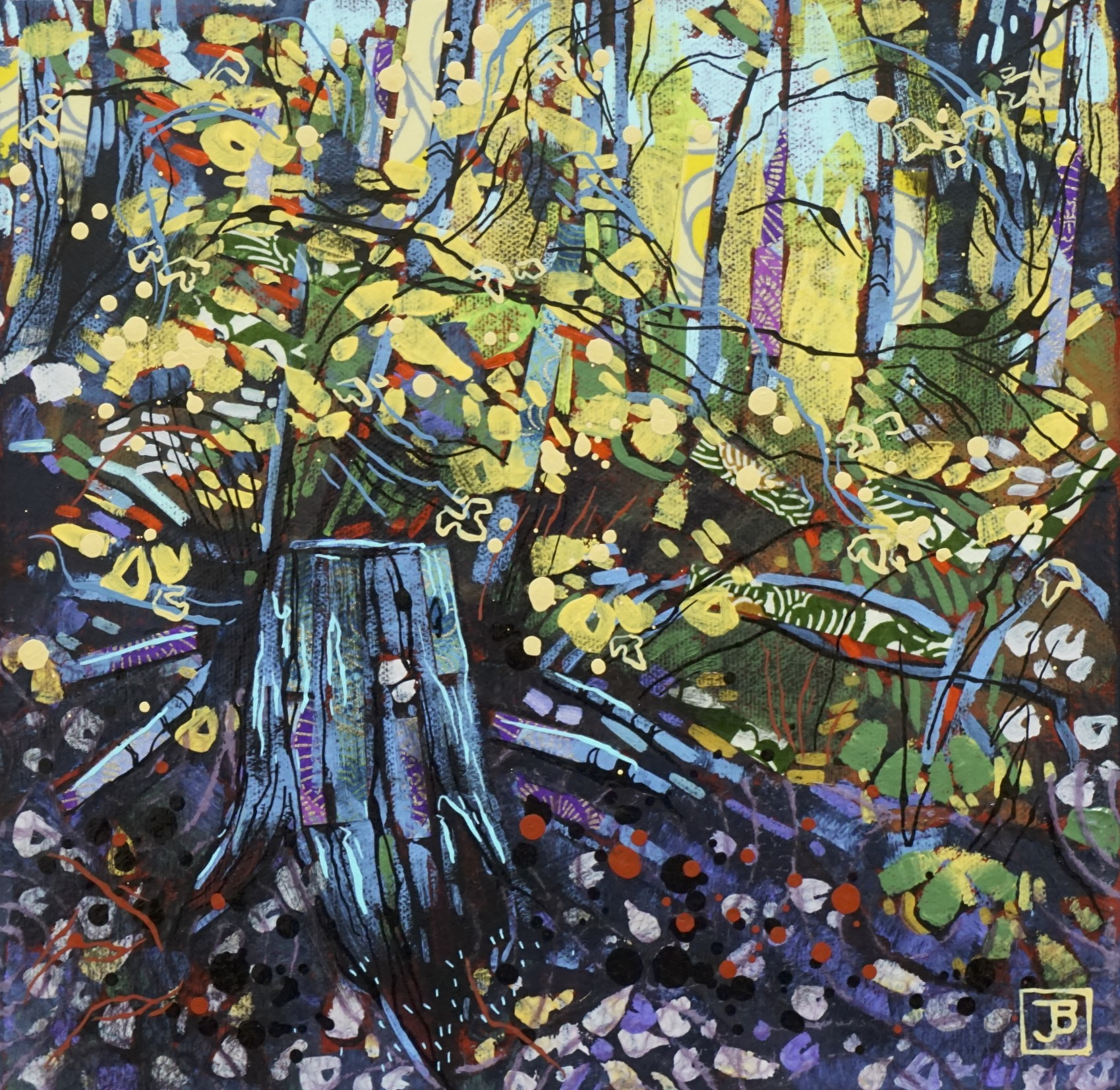 "old stump & golden foliage,  mixed media on canvas, 10"" x 10"", $200 + GST,  2019"