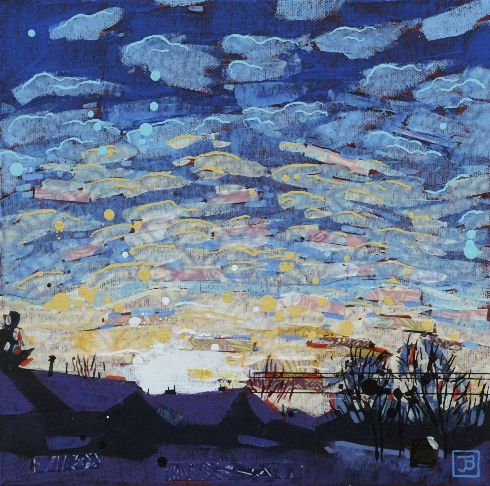 "mackerel sky, winter,  mixed media on canvas, 10"" x 10"", $200 + GST,  2019"