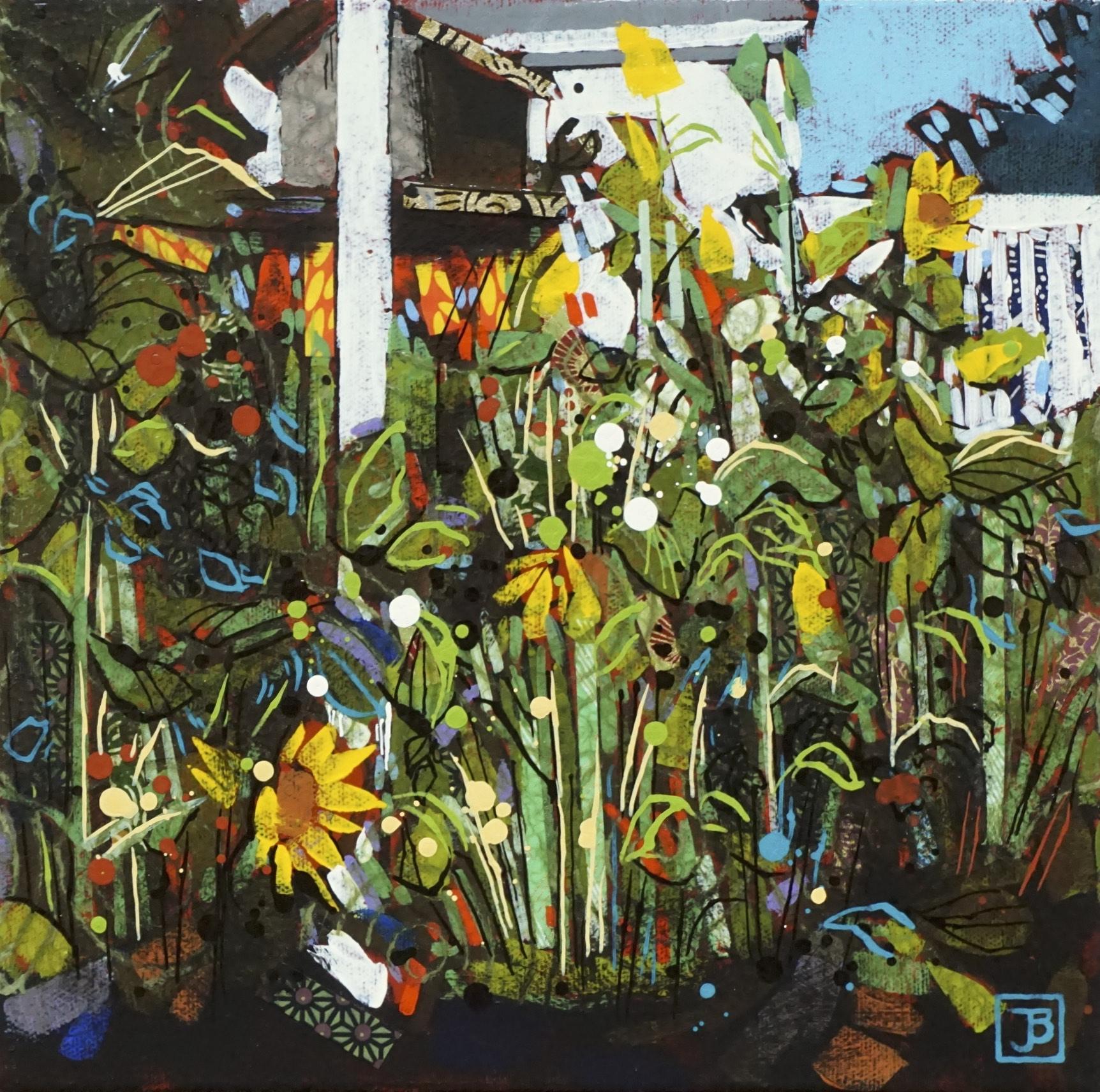 "sunflowers under the bird feeder,  mixed media on canvas, 10"" x 10"", $200 + GST,  2019"