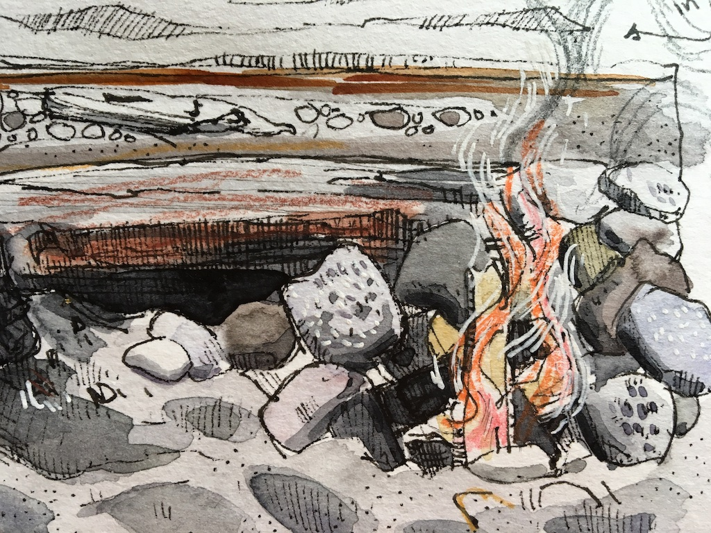 detail of fire on the beach sketch