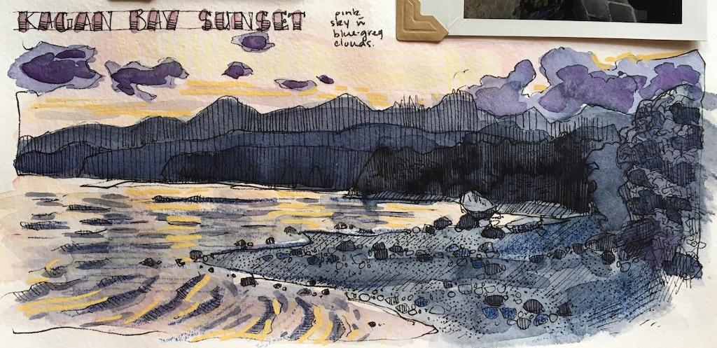 detail of kagan bay sunset sketch