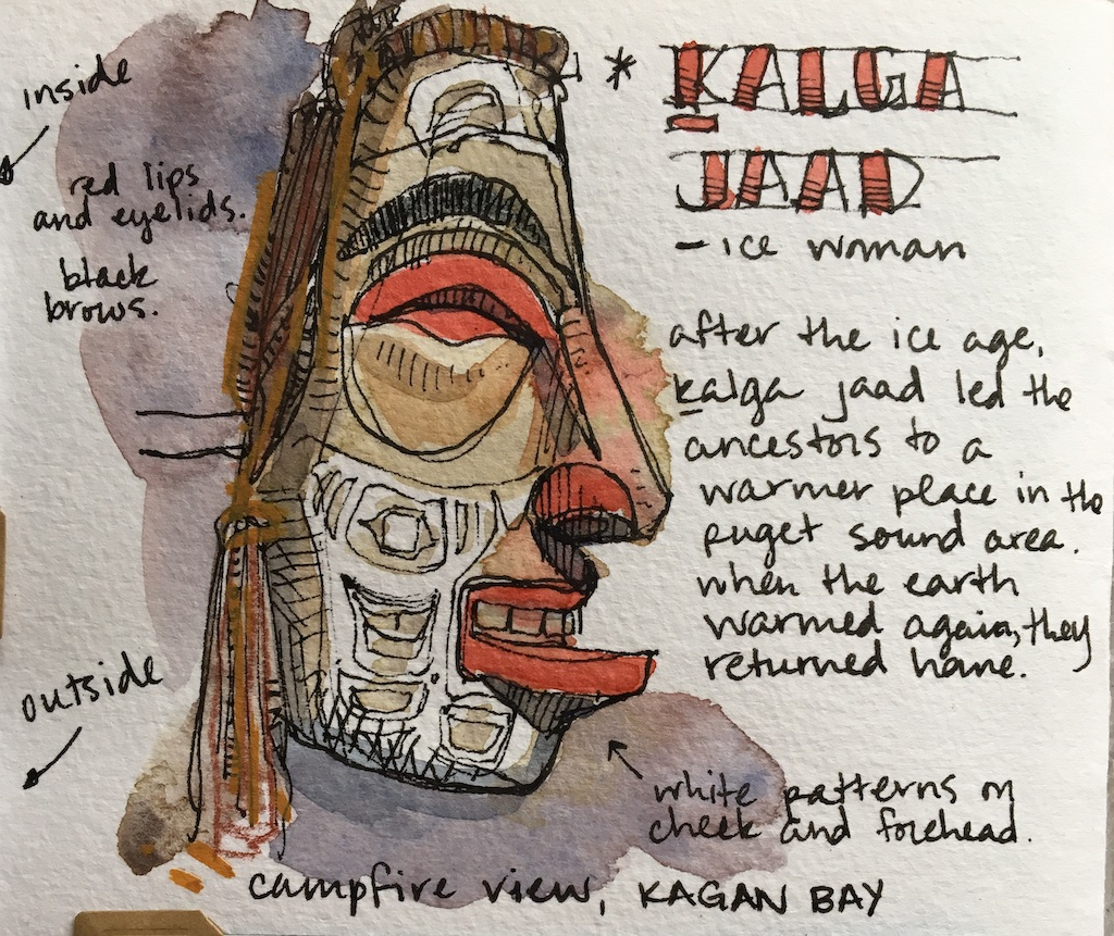 detail of carved mask sketch