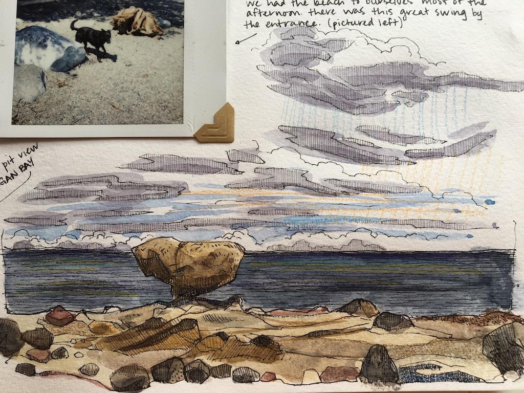 detail of balance rock sketch