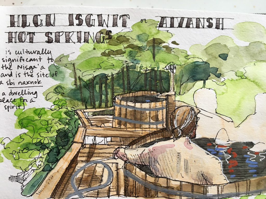 detail of hot spring sketch