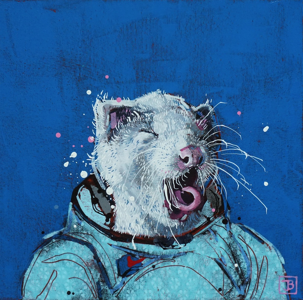 the rat,  mixed media on canvas, 12x12(in), $290 + GST,  2019