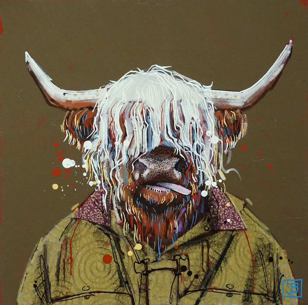 the ox,  mixed media on canvas, 12x12(in),  SOLD ,  2019