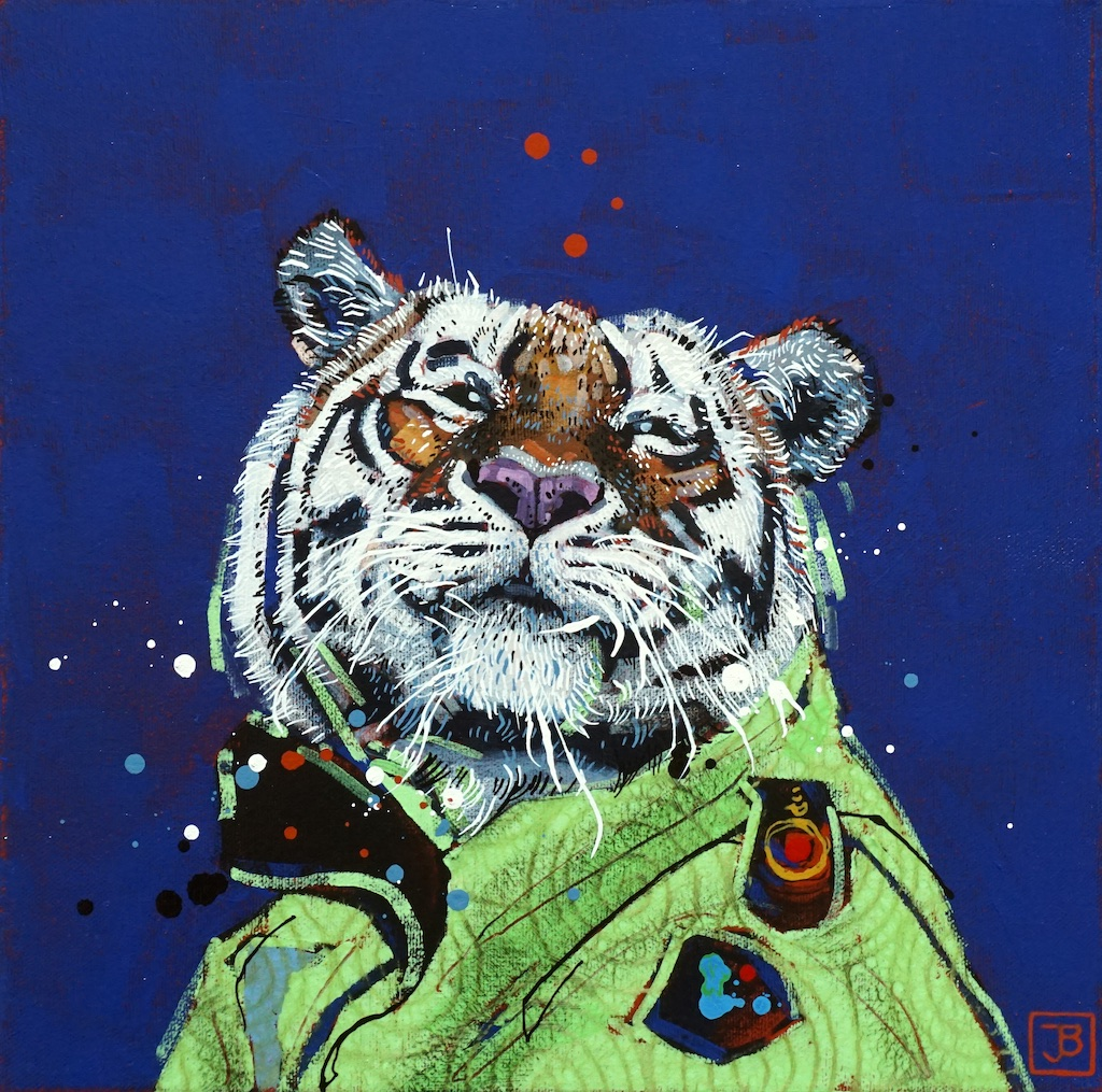 the tiger,  mixed media on canvas, 12x12(in),  SOLD ,  2019