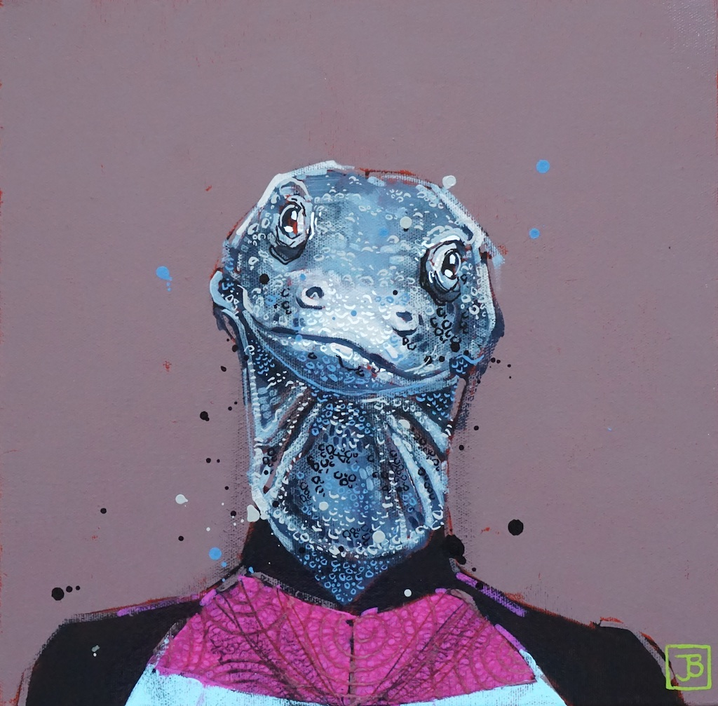 the (komodo) dragon,  mixed media on canvas, 12x12(in), $290 + GST,  2019