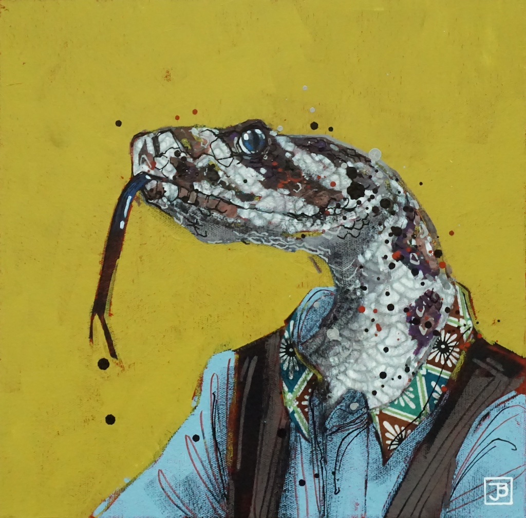 the snake,  mixed media on canvas, 12x12(in), $290 + GST,  2019