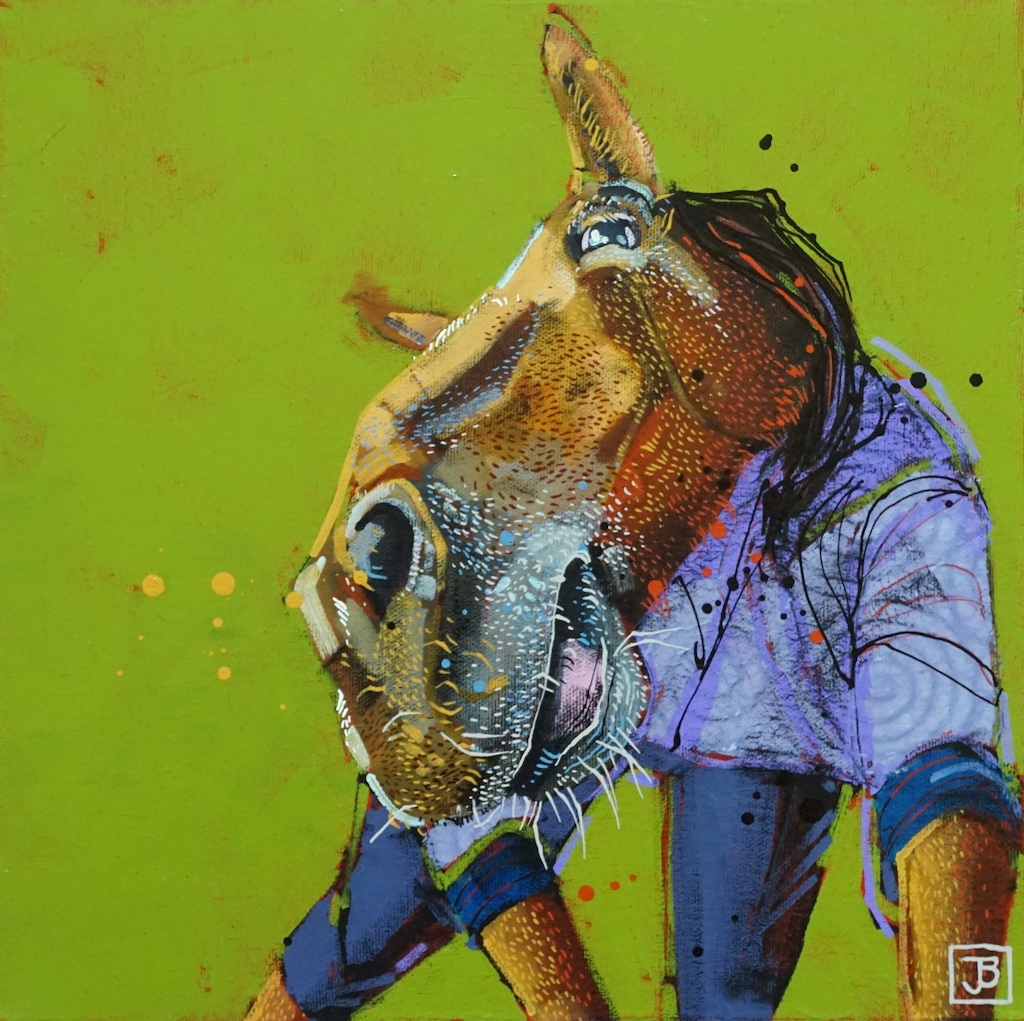 the horse,  mixed media on canvas, 12x12(in),  SOLD ,  2019