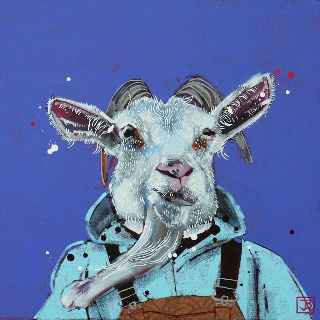 the goat,  mixed media on canvas, 12x12(in), $290 + GST,  2019