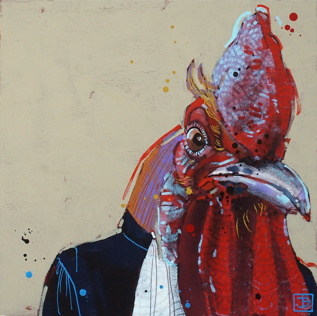 the rooster,  mixed media on canvas, 12x12(in), $290 + GST,  2019