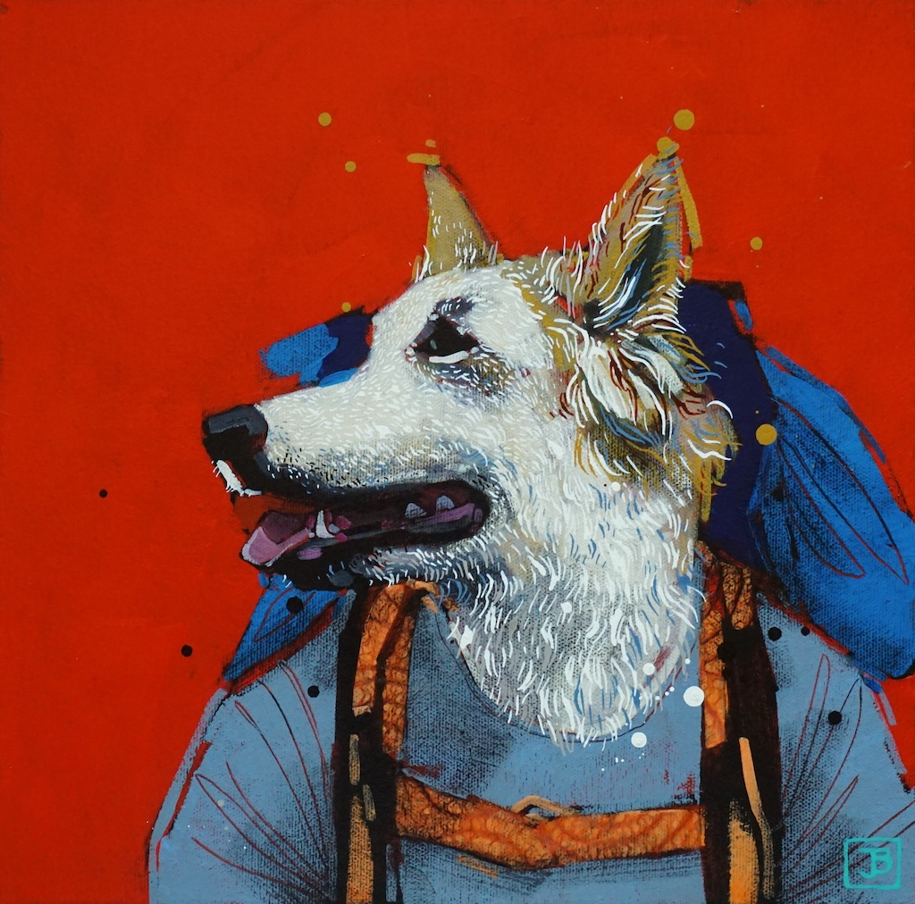the dog,  mixed media on canvas, 12x12(in),  SOLD ,  2019