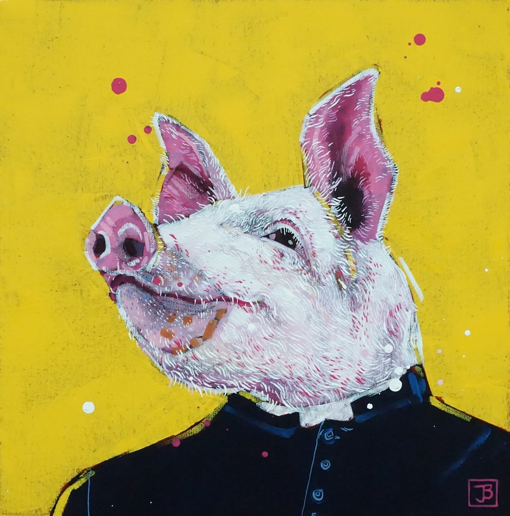 the pig,  mixed media on canvas, 12x12(in),  SOLD ,  2019