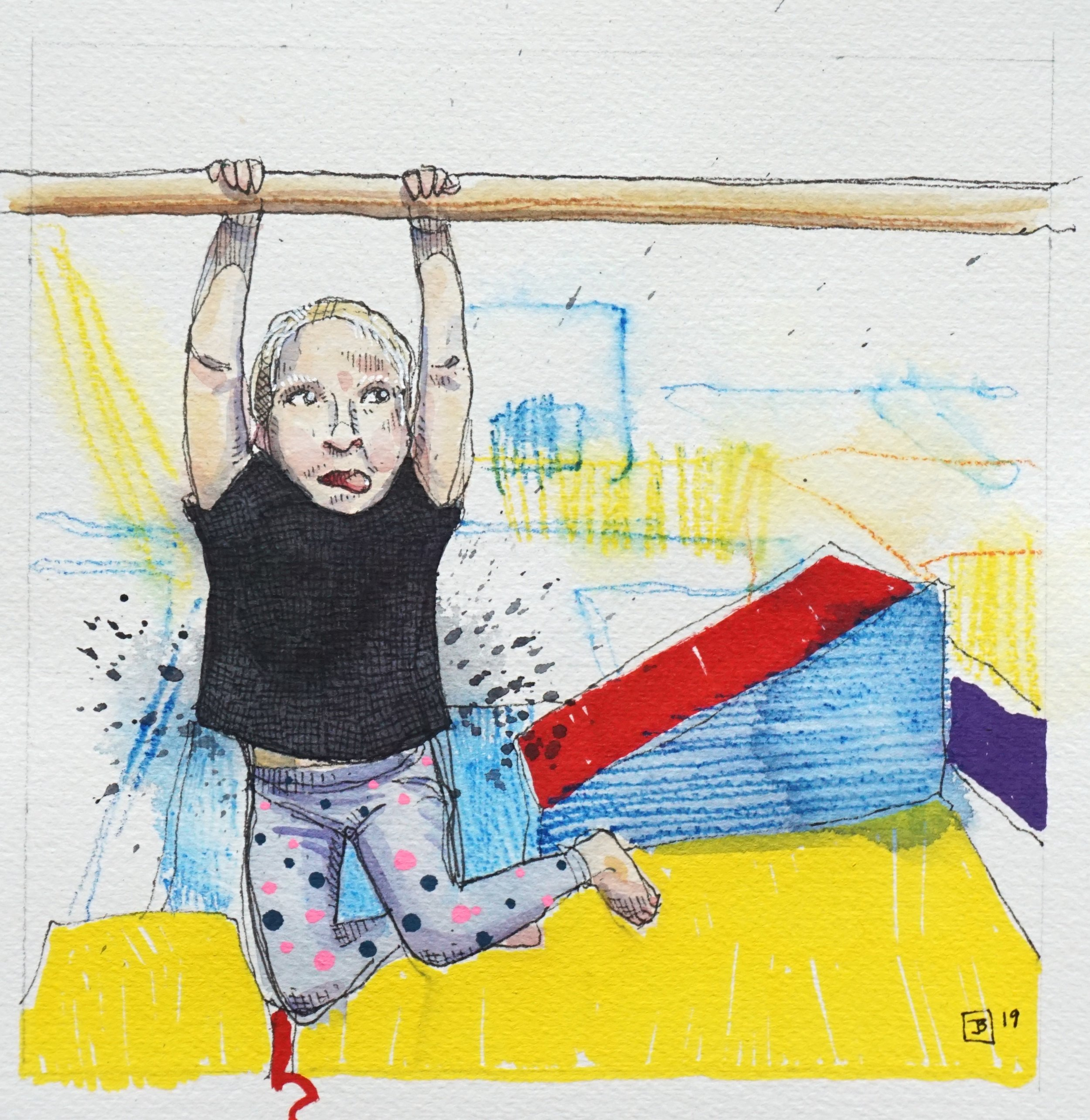 "ellie masters the high bar,  mixed media on cold pressed paper, 8"" x 8"",  2019"