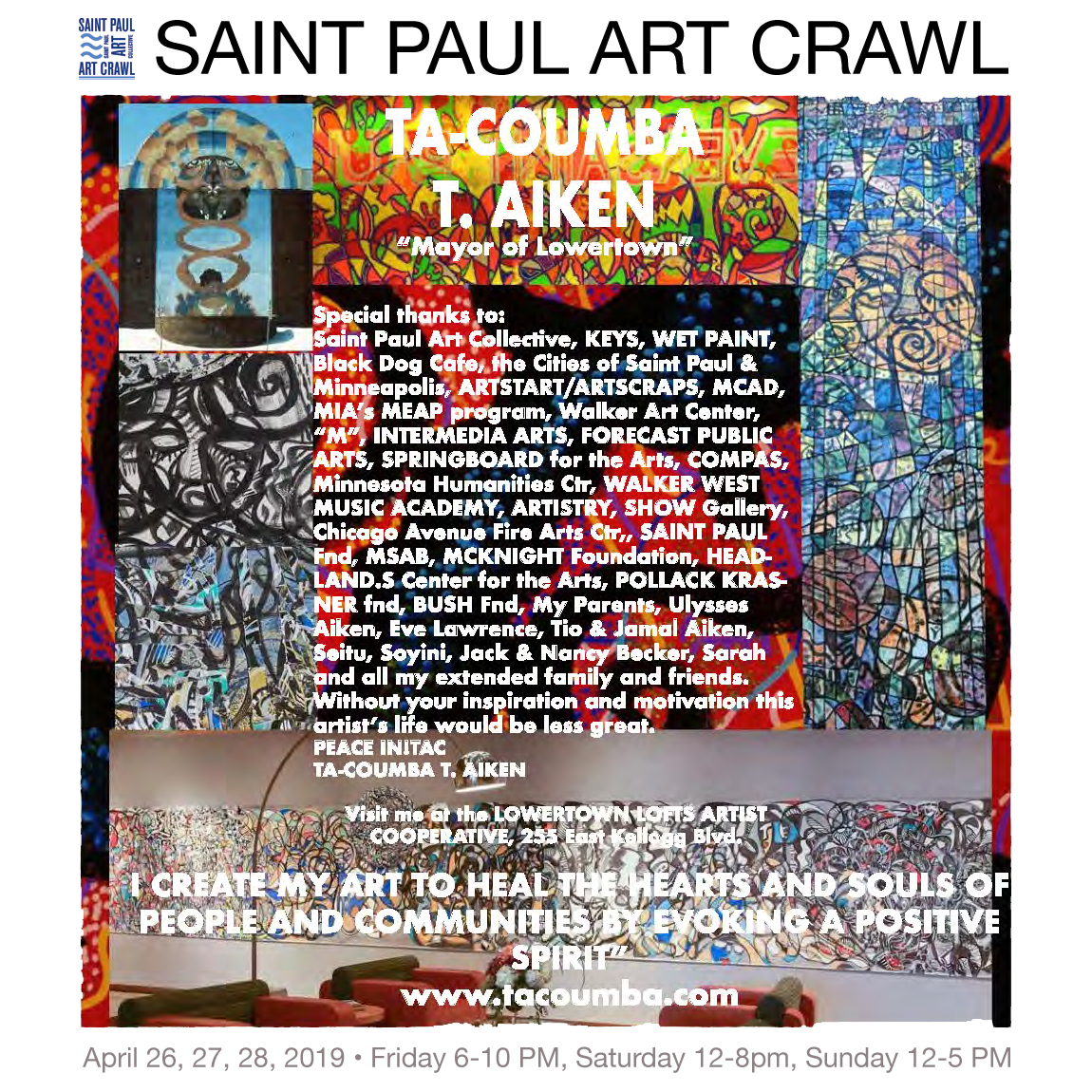 Visit  Ta-coumba  at the Saint Paul Art Crawl on the Third Floor of the Co-op! You can see who else is participating and what else is happening at Lowertown Lofts Artist Cooperative by  clicking here .