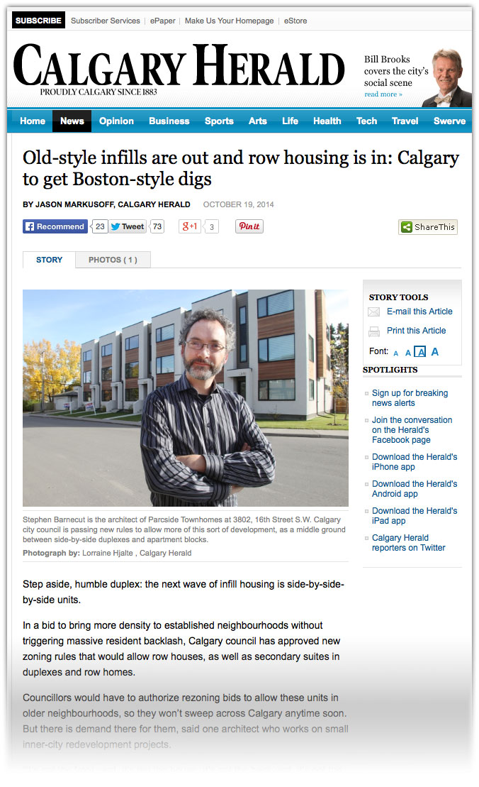 Calgary Herald article on new Inner City Rowhouse district by Jason Markusoff