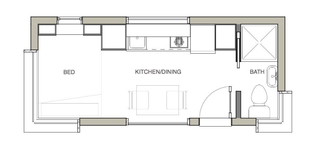 Main floor plan of the small Micro Home.