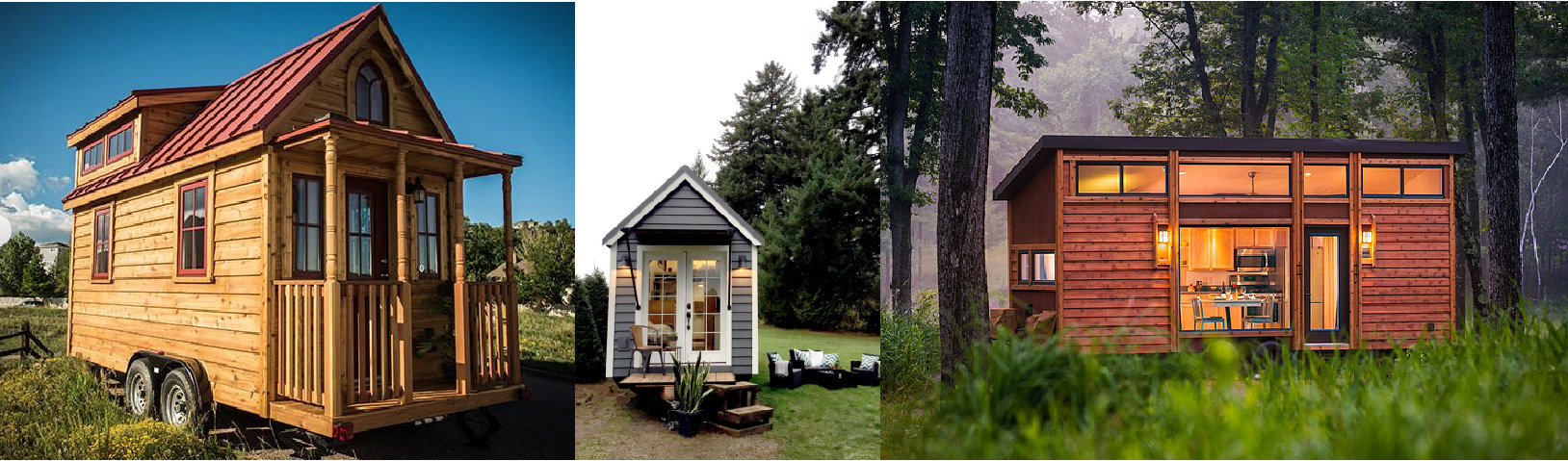"""From Left to Right: Tumbleweed House """"Elmy"""", Tiny Heirloom """"Victorian in Indianapolis"""", and Escape Traveler """"Traveler""""House."""