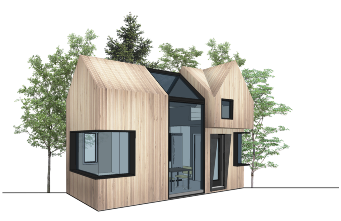 Perspective elevation of the large, 2-storey Micro-Home.