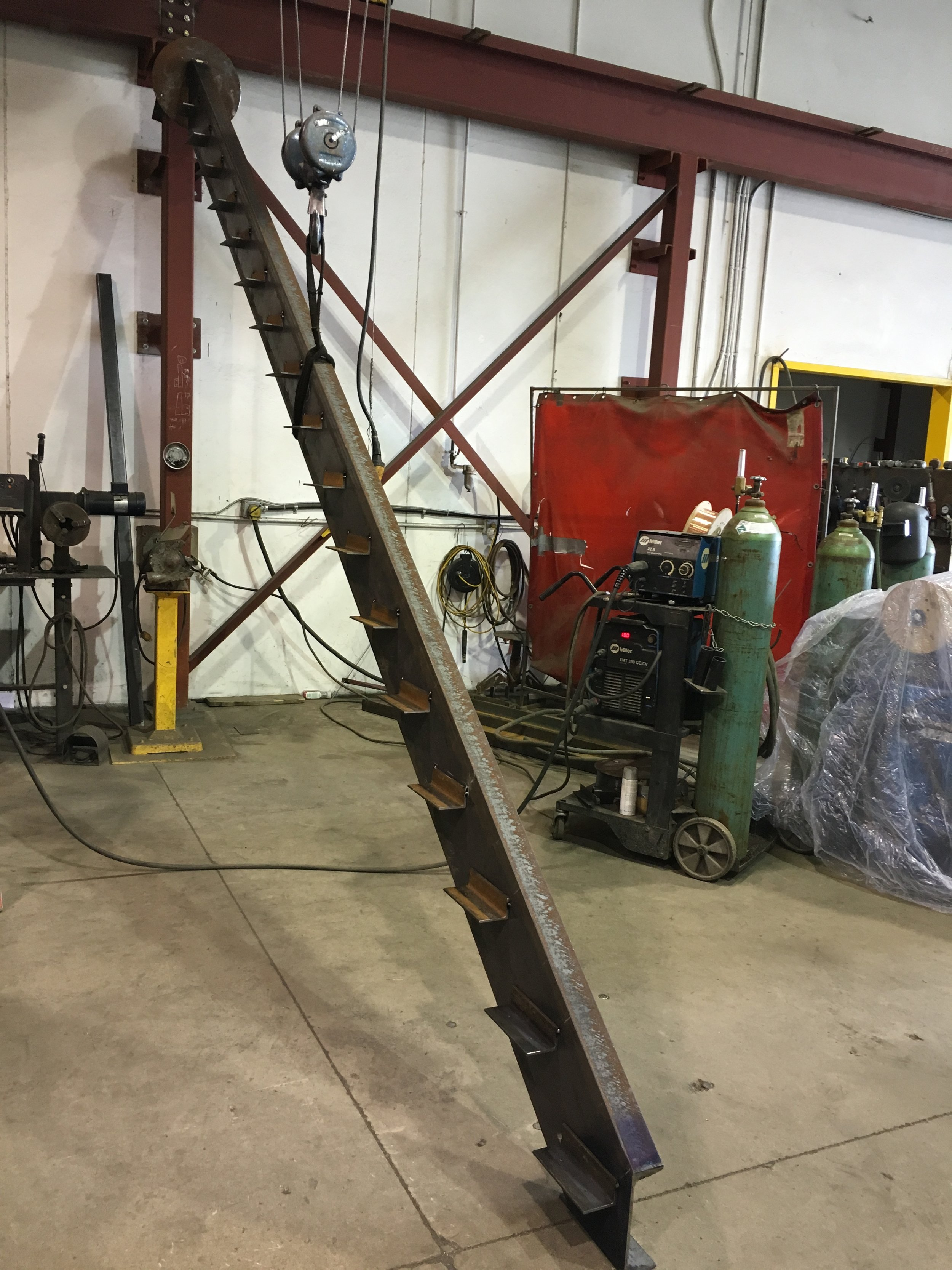 Steel stair stringer at the shop