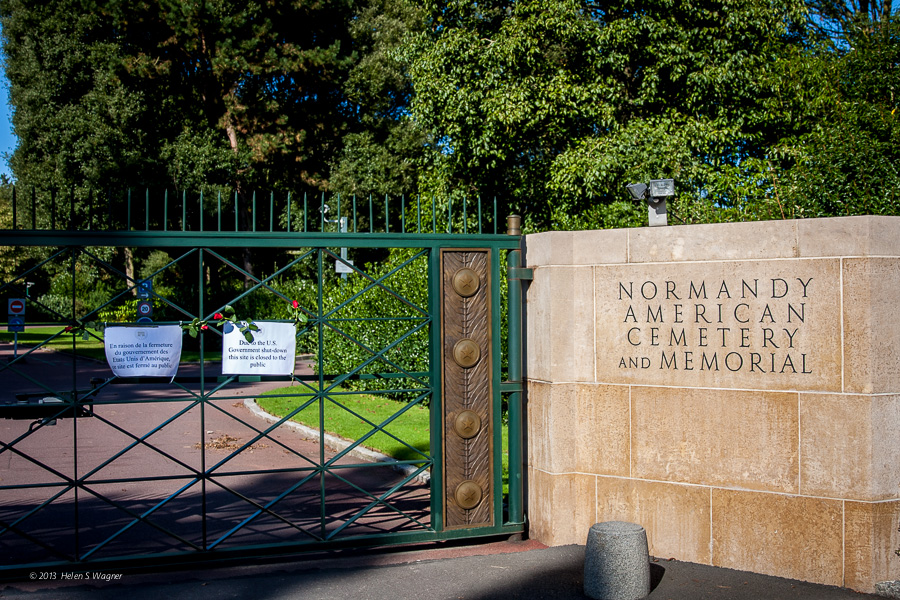 The Normandy American Cemetery and Memorial was closed to the public during our visit due to the U. S. government shutdown.