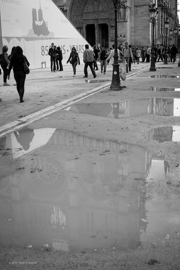 Using a reflection was one way to view the front facade of Notre Dame in Paris.