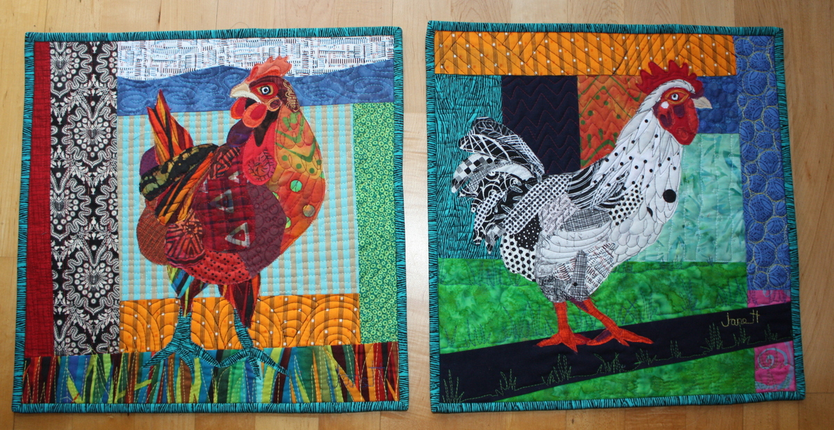 Chicken and Rooster. Size 16 x 16""