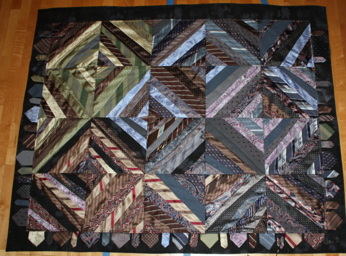 Necktie quilt made using about 45 ties