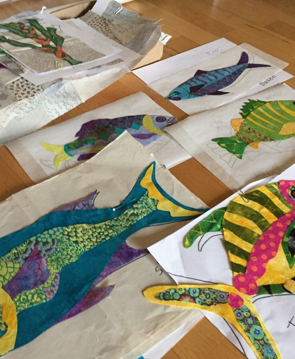 Some of the applique fish coming together.