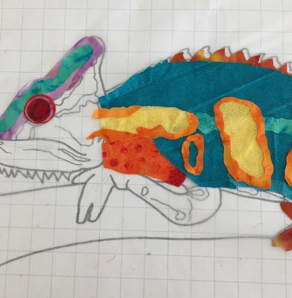 Student work Chameleon in progress