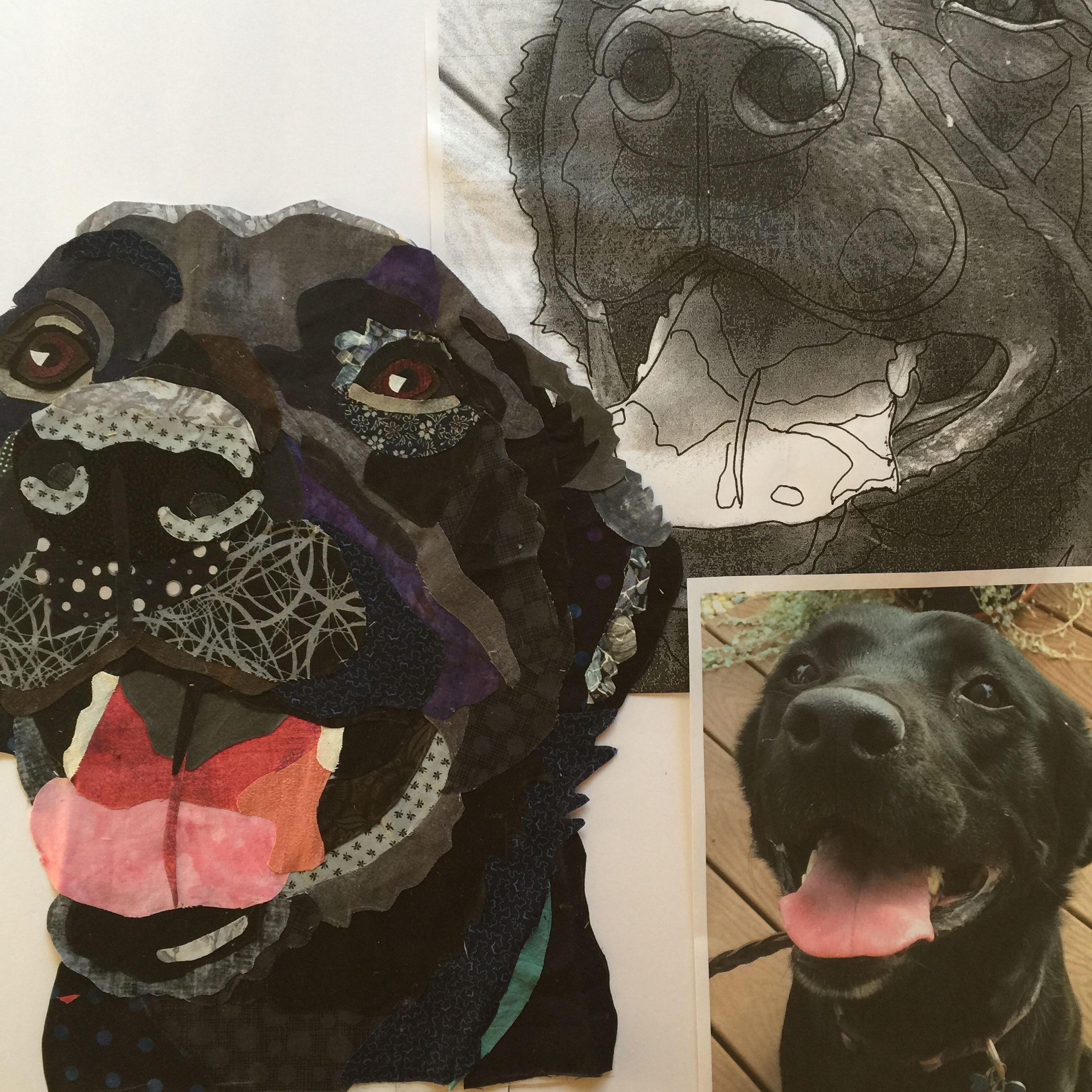 Work in Progress Fabric Collage of a Black Lab