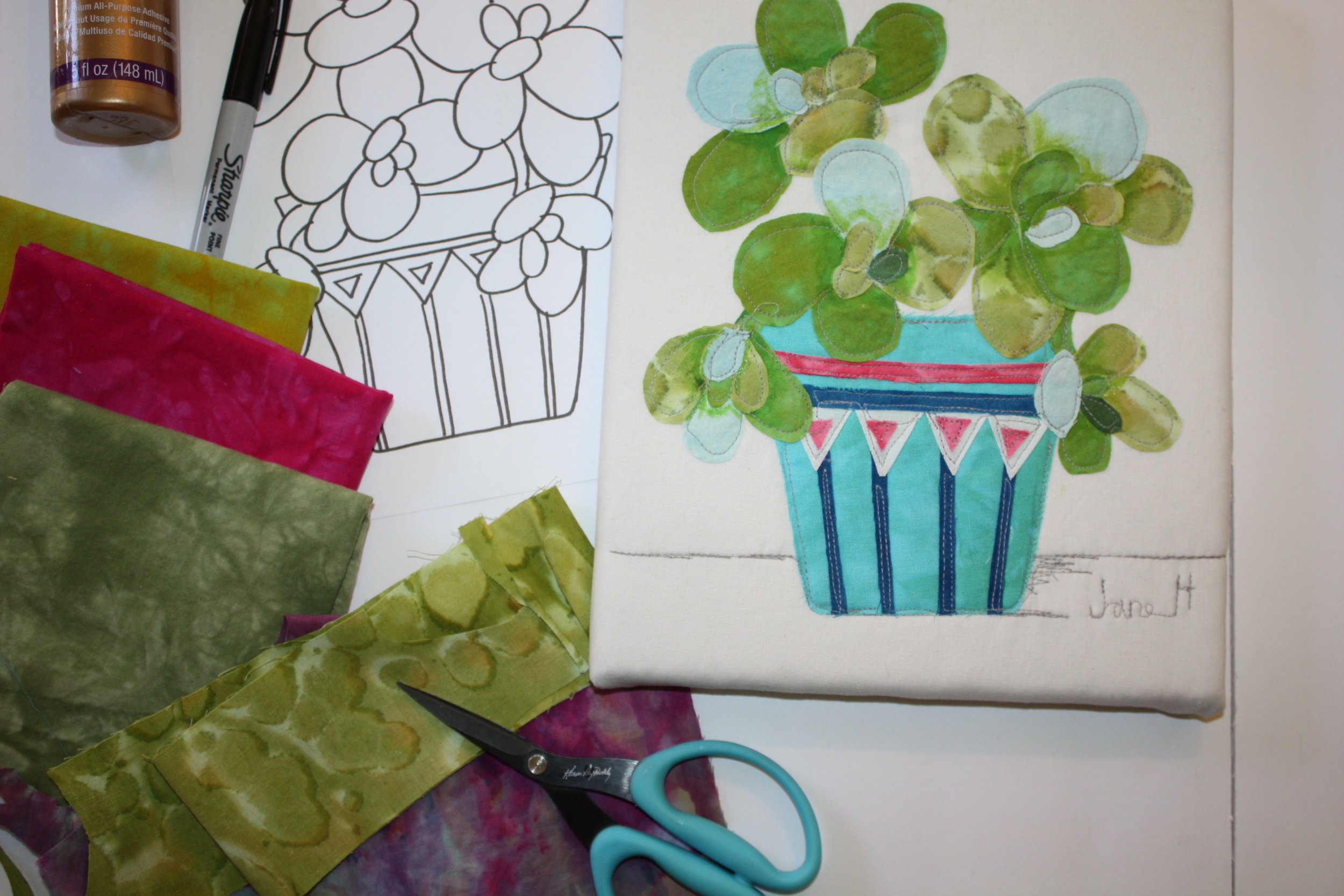 Sample of Succulents in Pots Fabric Collage