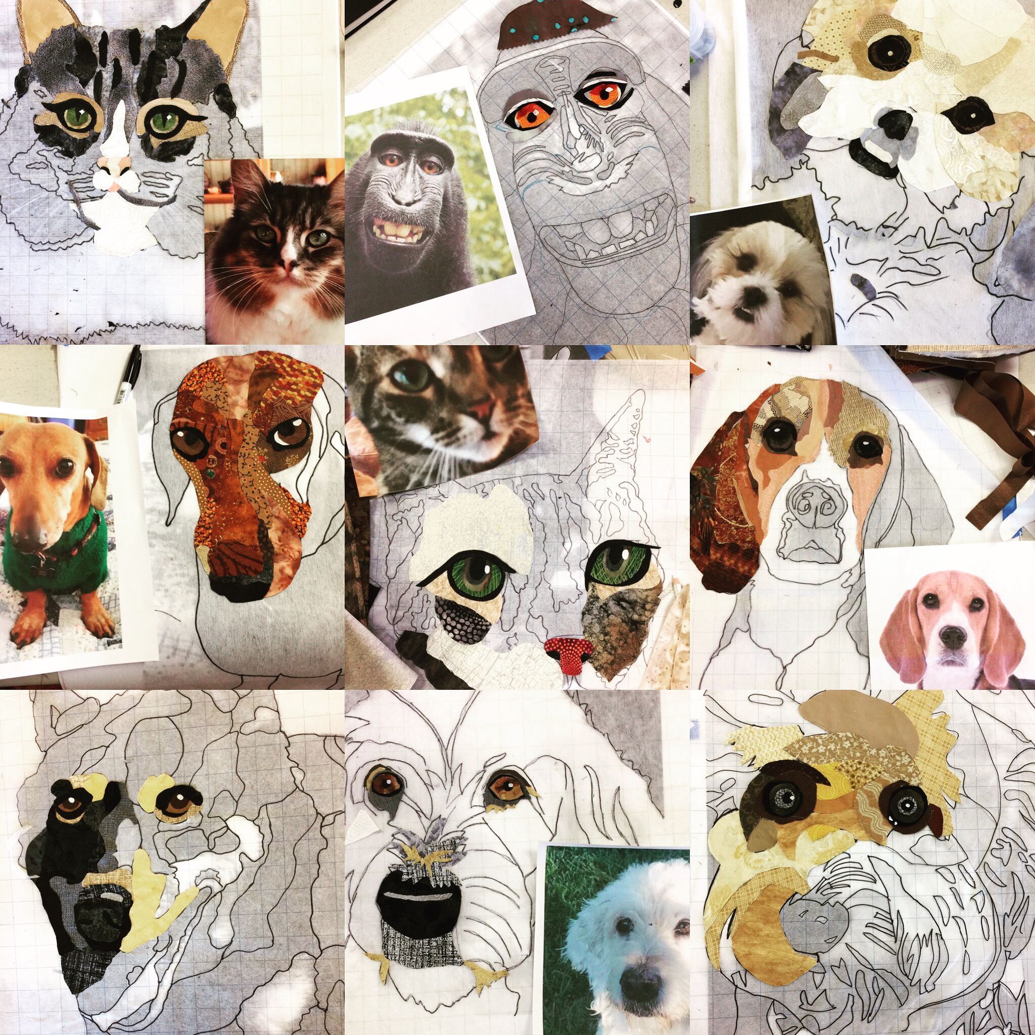 Compilation of some of the student work in Love of Pets Class