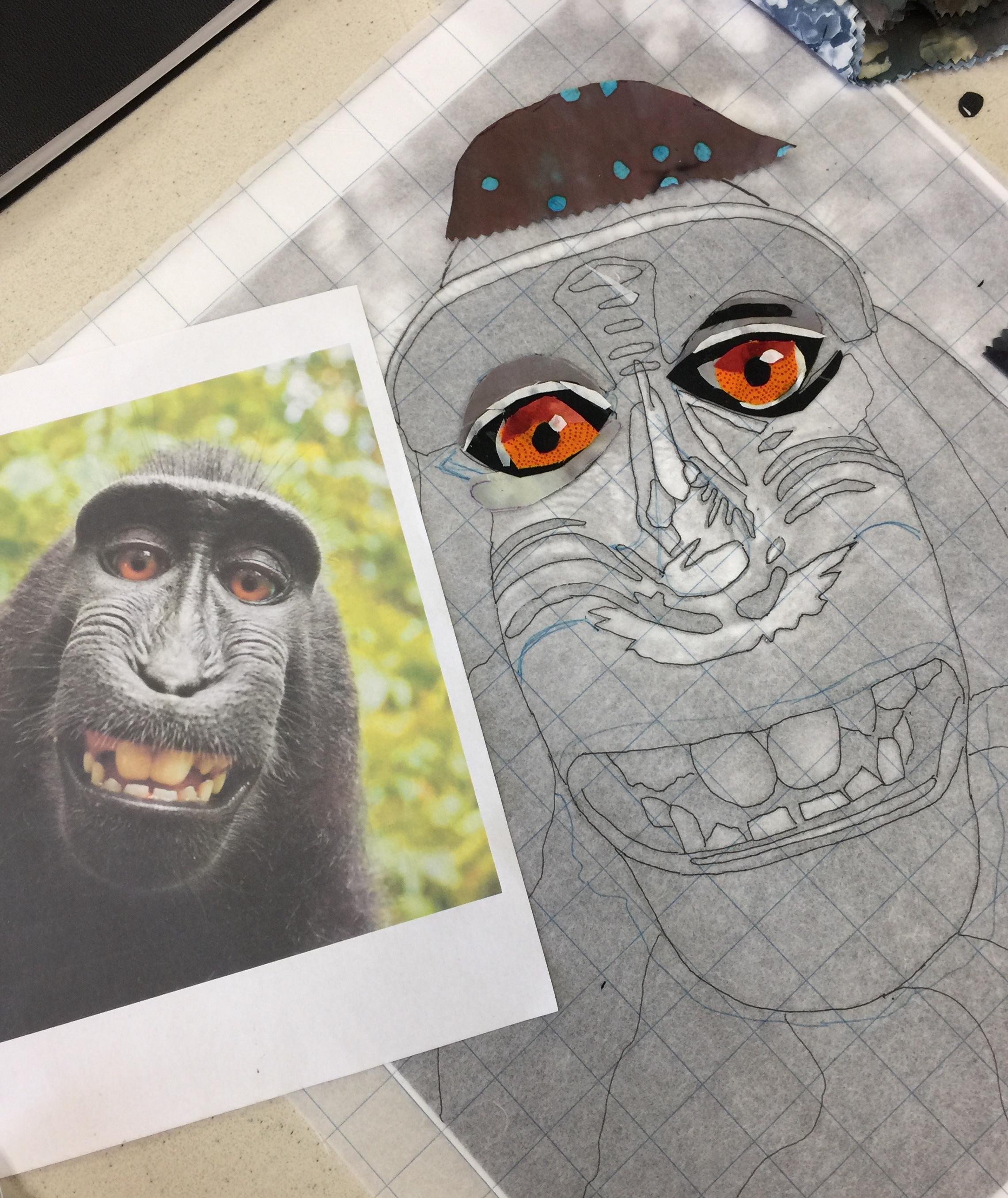 Work starting on the monkey portrait