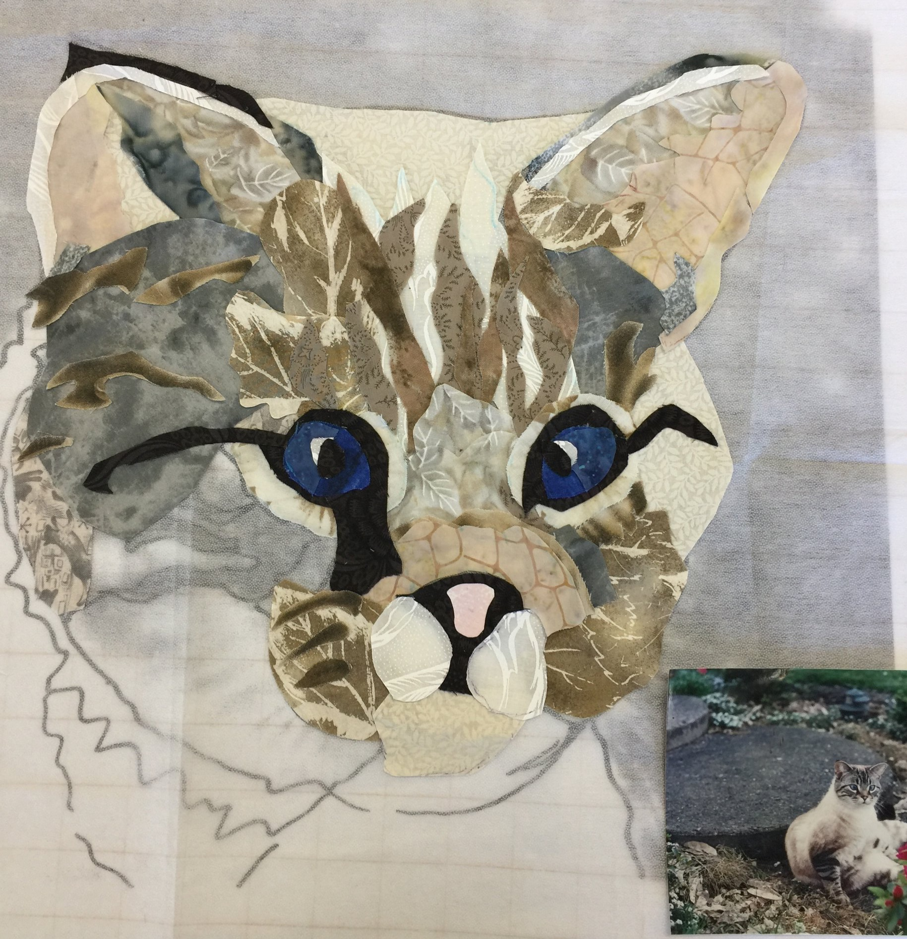 Student work in Progress. Original photo but pattern made from a cropped enlargement from that photo.