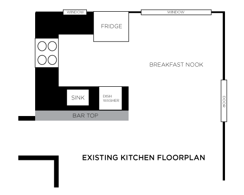 As you can see here, the breakfast nook has a similar footprint to the existing kitchen.