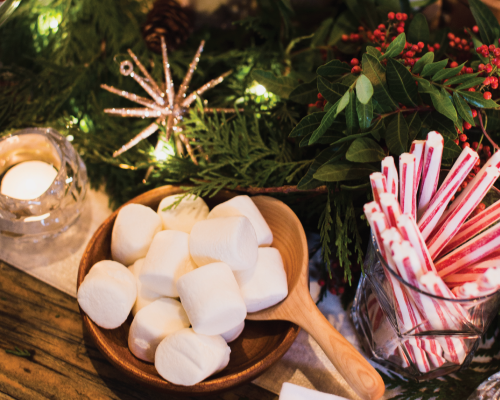 Marshmallows,natural peppermint sticks and all things delicious.