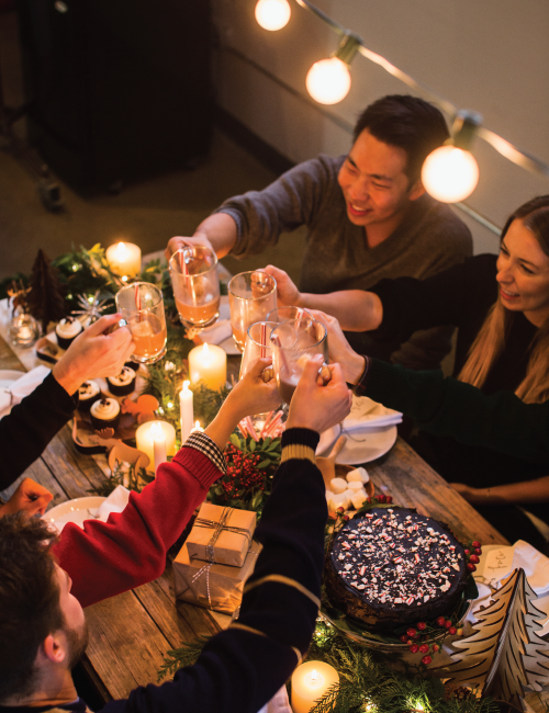 Cheers to friends, hot cocoa, and fun times!