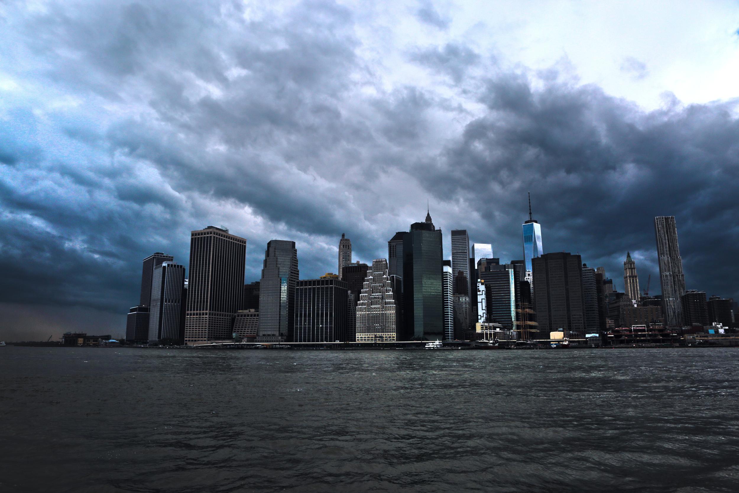 The NYC skyline from Brooklyn Bridge Park.