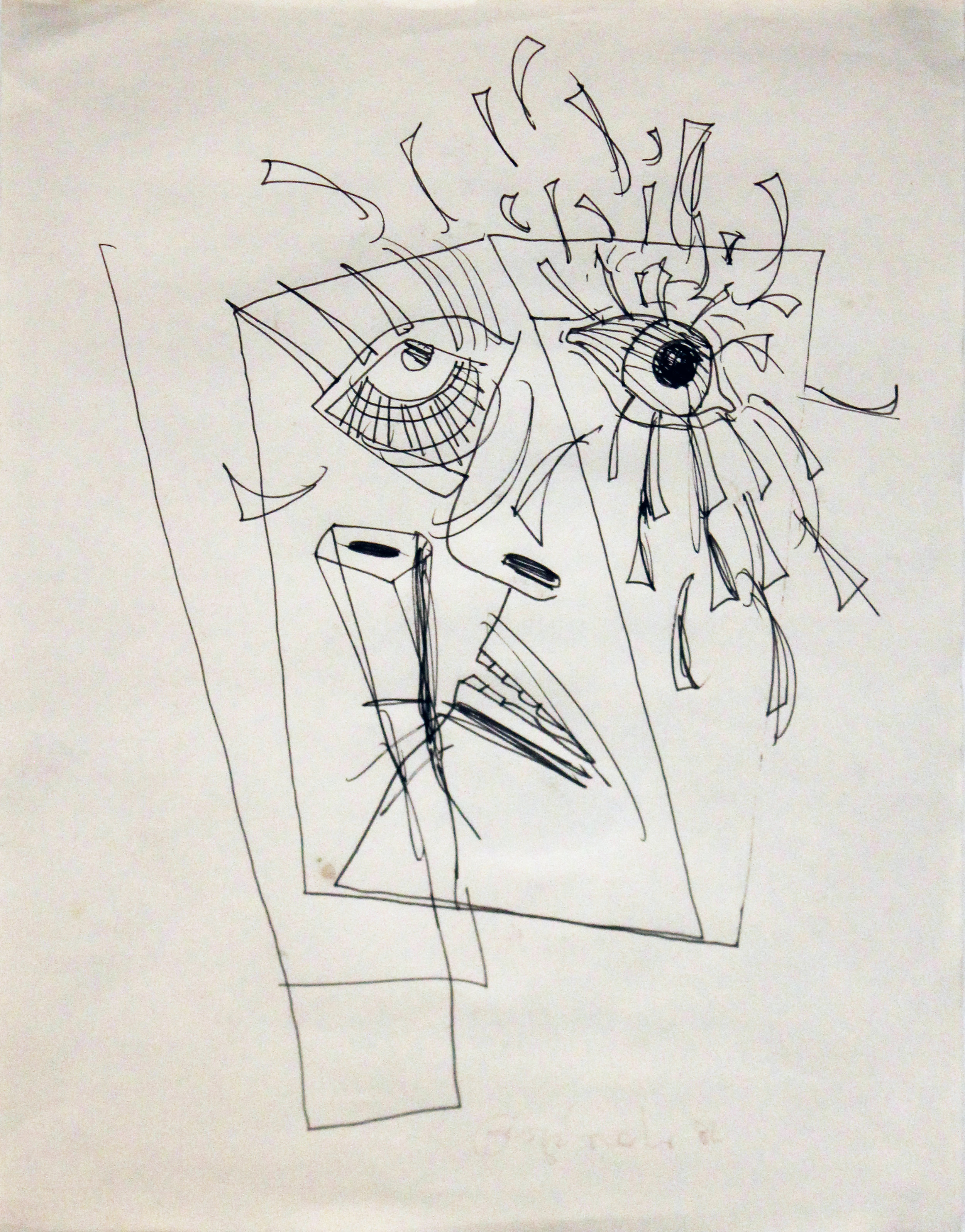 George Condo    Face II , 1982 Ink on paper Signed and dated on recto Sheet: 11.5 x 9 inches; Framed: 17.75 x 14.75 inches Provenance: Turskey & Whitney Gallery, Los Angeles, CA, tag on verso Estimate: $2,000/$3,000