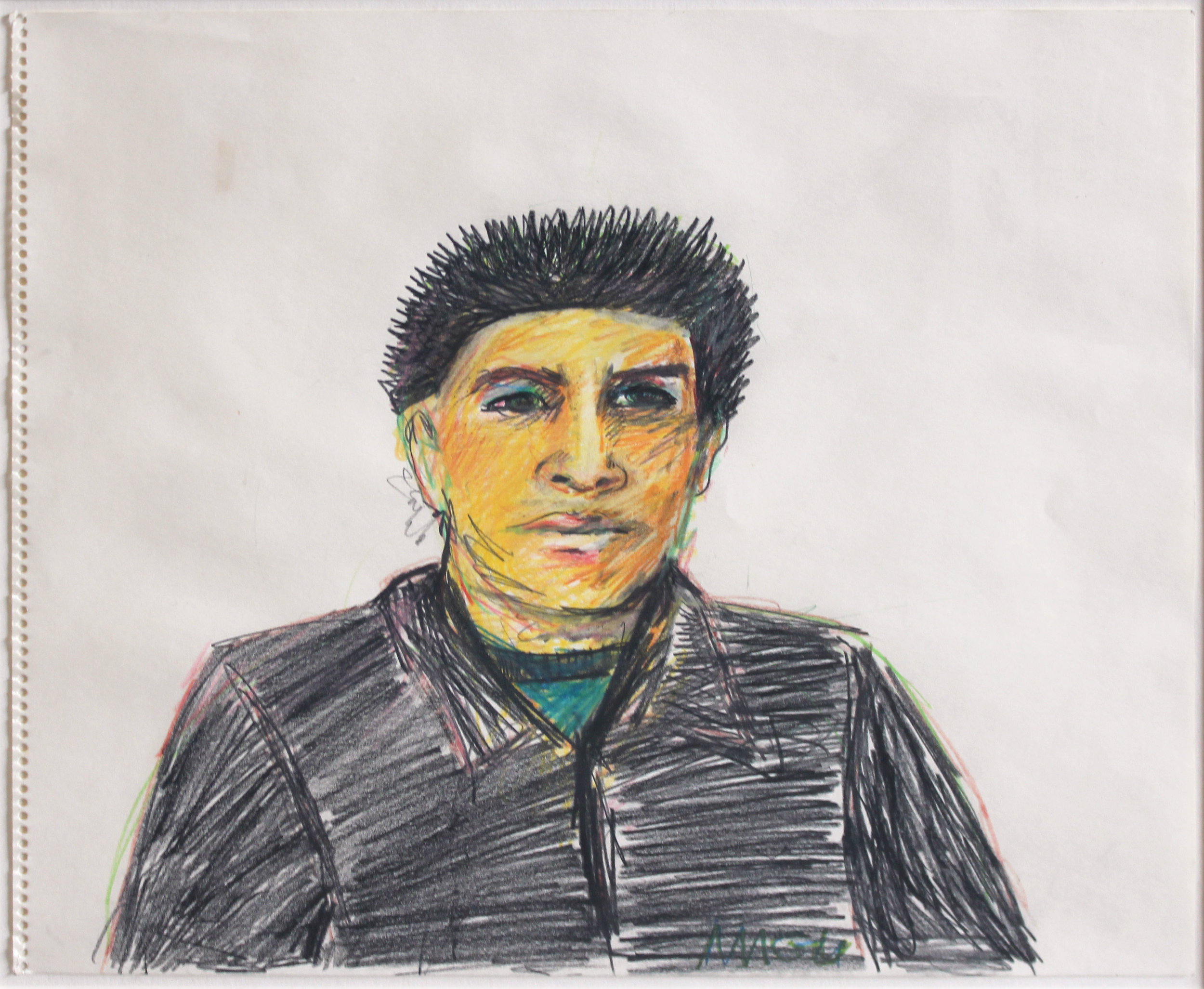 Gilbert Magu Lujan  Self Portrait , c. 1975 Prismacolor crayon on paper Signed on recto Sheet: 14 x 17 inches; Framed: 21 x 24 inches Provenance: Acquired by present owner from Carole Hawkes collection, Los Angeles, CA Estimate: $3,000/$4,000