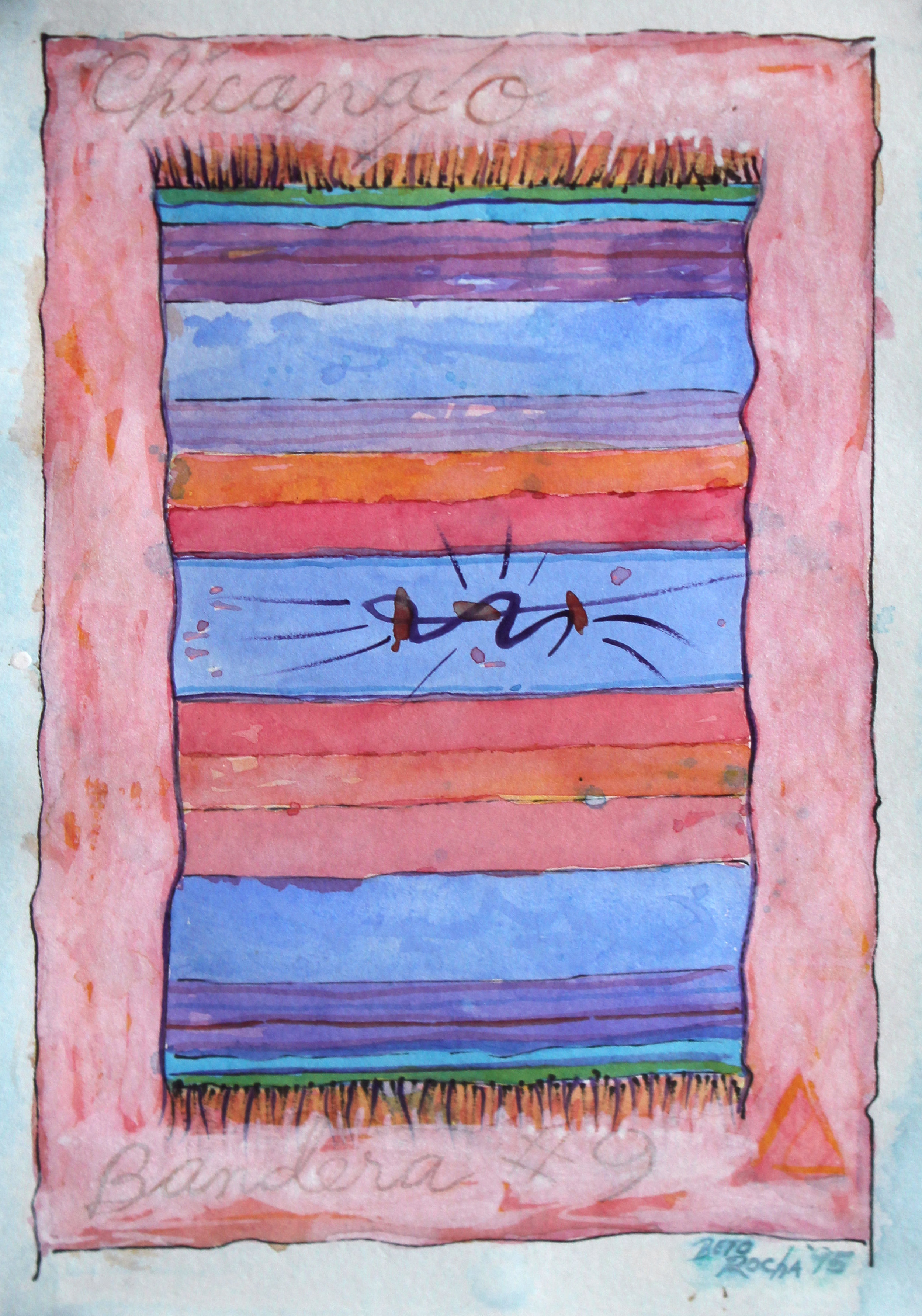Beto de la Rocha    Chicana/o Bandera #9 , 1995 Watercolor and mixed media on paper Signed, titled and dated on recto Sheet: 12.5 x 8 inches; Framed: 18 x 14 inches Estimate: $3,000/$4,000