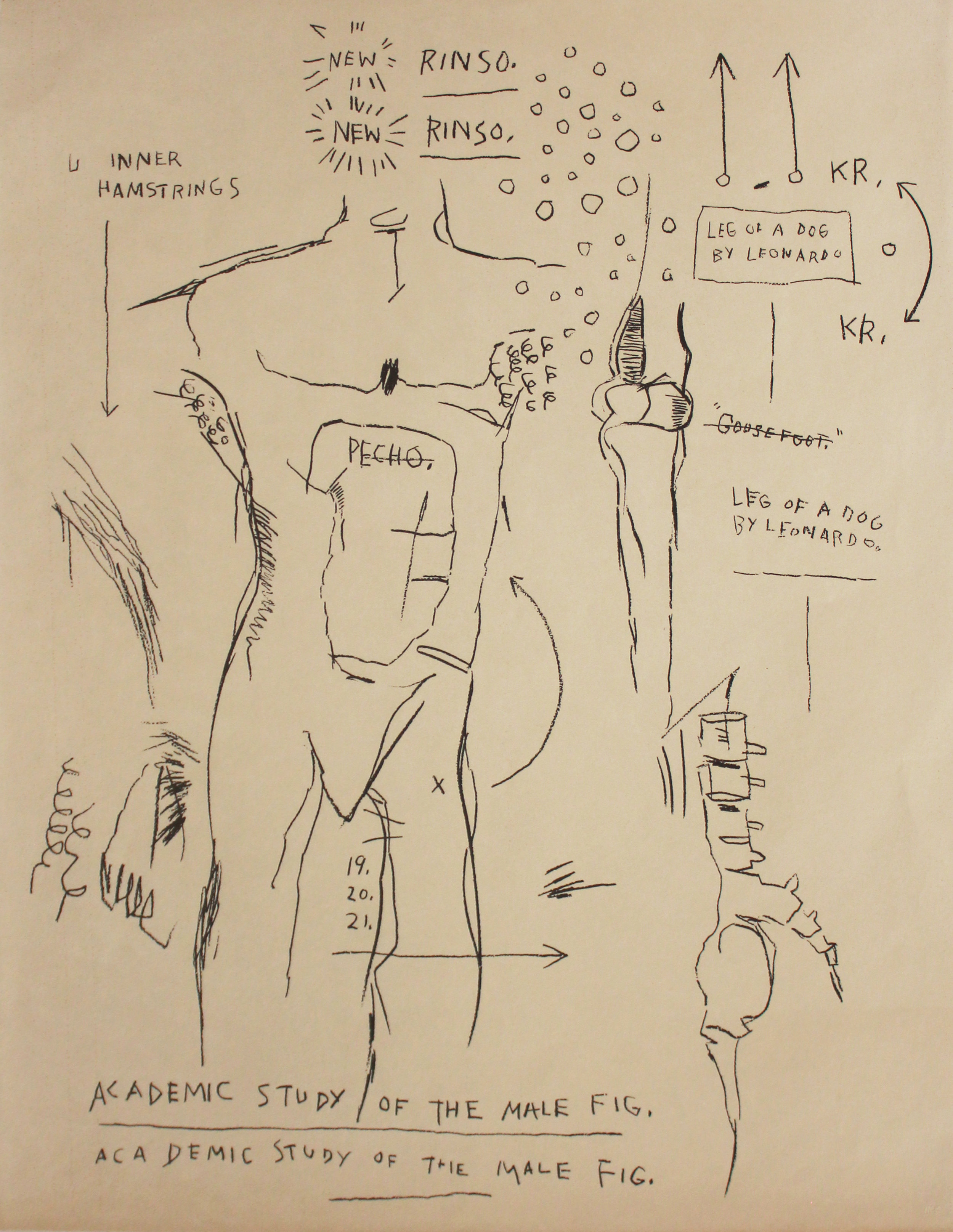 Jean-Michel Basquiat (1960-1988)   Academic Study of the Male Figure , 1983 Silkscreen on Okawara rice paper Unsigned printers proof; New City Editions, Venice, CA blindstamp lower right Sheet: 40 x 31 inches; Framed: 47 x 38 inches Estimate: $8,000/$12,000