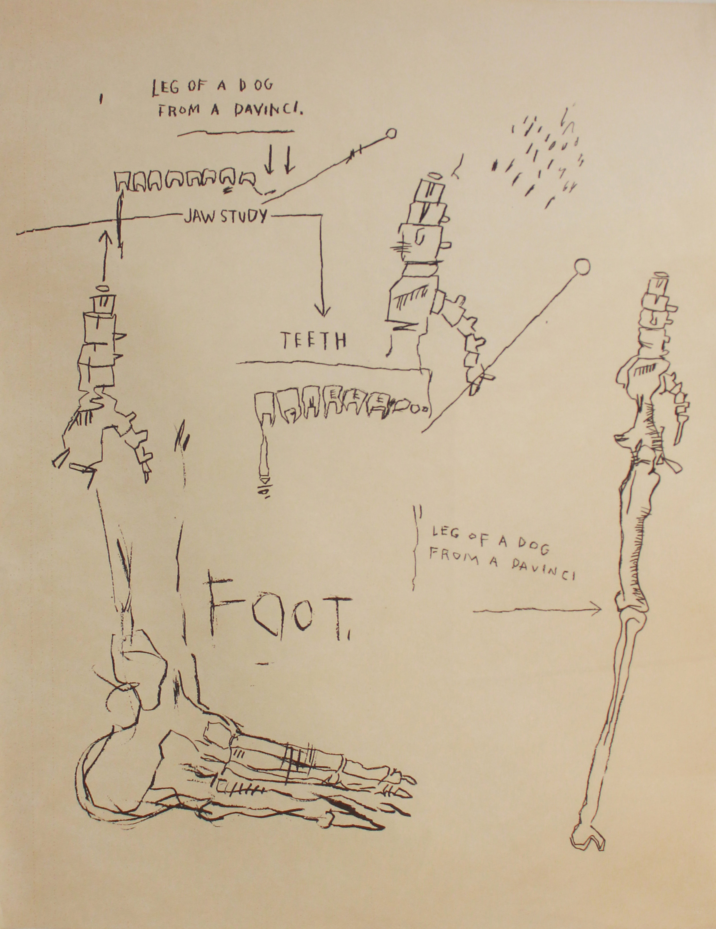 Jean-Michel Basquiat (1960-1988)   Leg of the Dog , 1983 Silkscreen on Okawara rice paper Unsigned printers proof; New City Editions, Venice, CA blindstamp lower right Sheet: 40 x 31 inches; Framed: 46.5 x 37.5 inches Estimate: $8,000/$12,000
