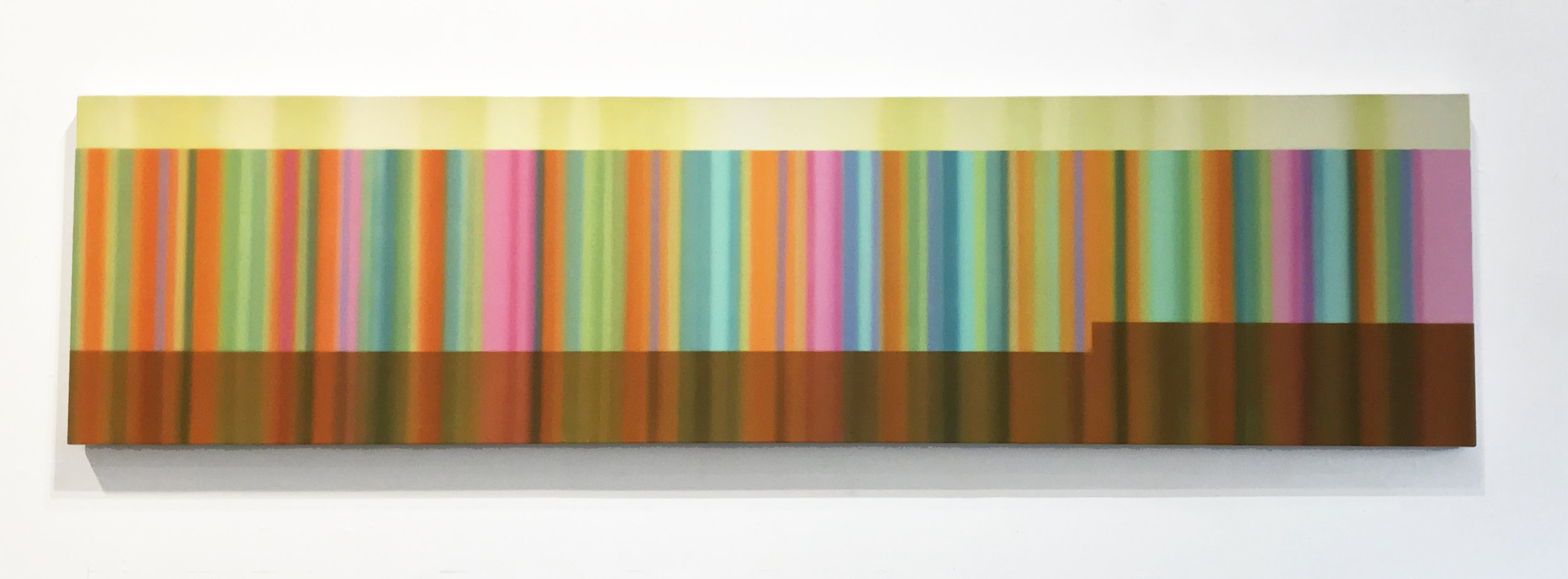 Tim Bavington (Brown 1966)   BNS #2 (Brand New Start) , 2016 Synthetic polymer on canvas Signed, titled and dated in ink on verso 24 x 96 inches Estimate: $10,000/$12,000