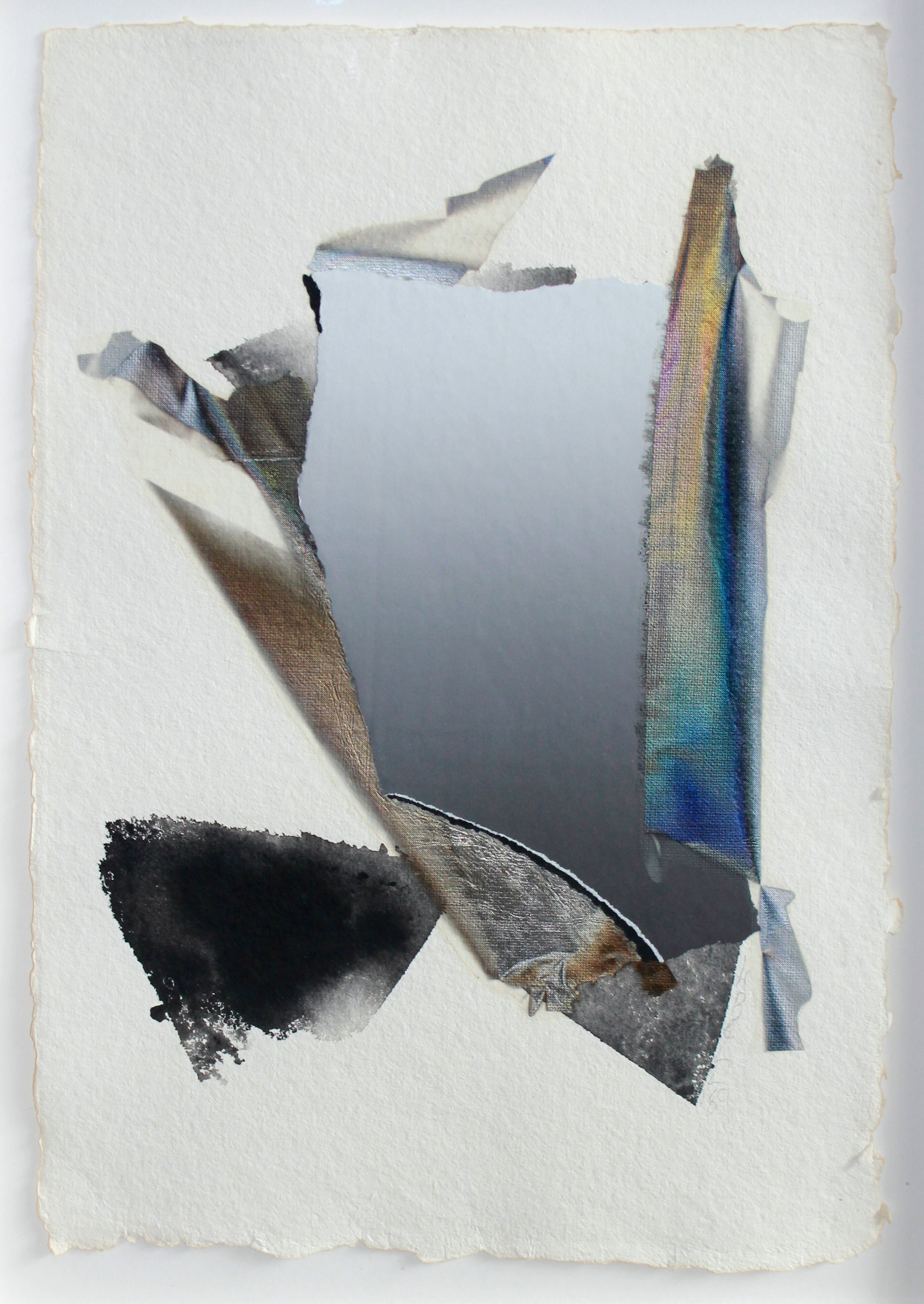 Larry Bell (Born 1939)  Untitled, 1989 Vaporized metals on paper with mixed media collage on paper Signed and dated in pencil on recto Sheet: 18 x 12.25 inches; Framed: 20.5 x 15 inches Provenance: The Estate of Ms. Gaby Stuart/Primus-Stewart Gallery, Los Angeles, CA Estimate: $3,000/$5,000