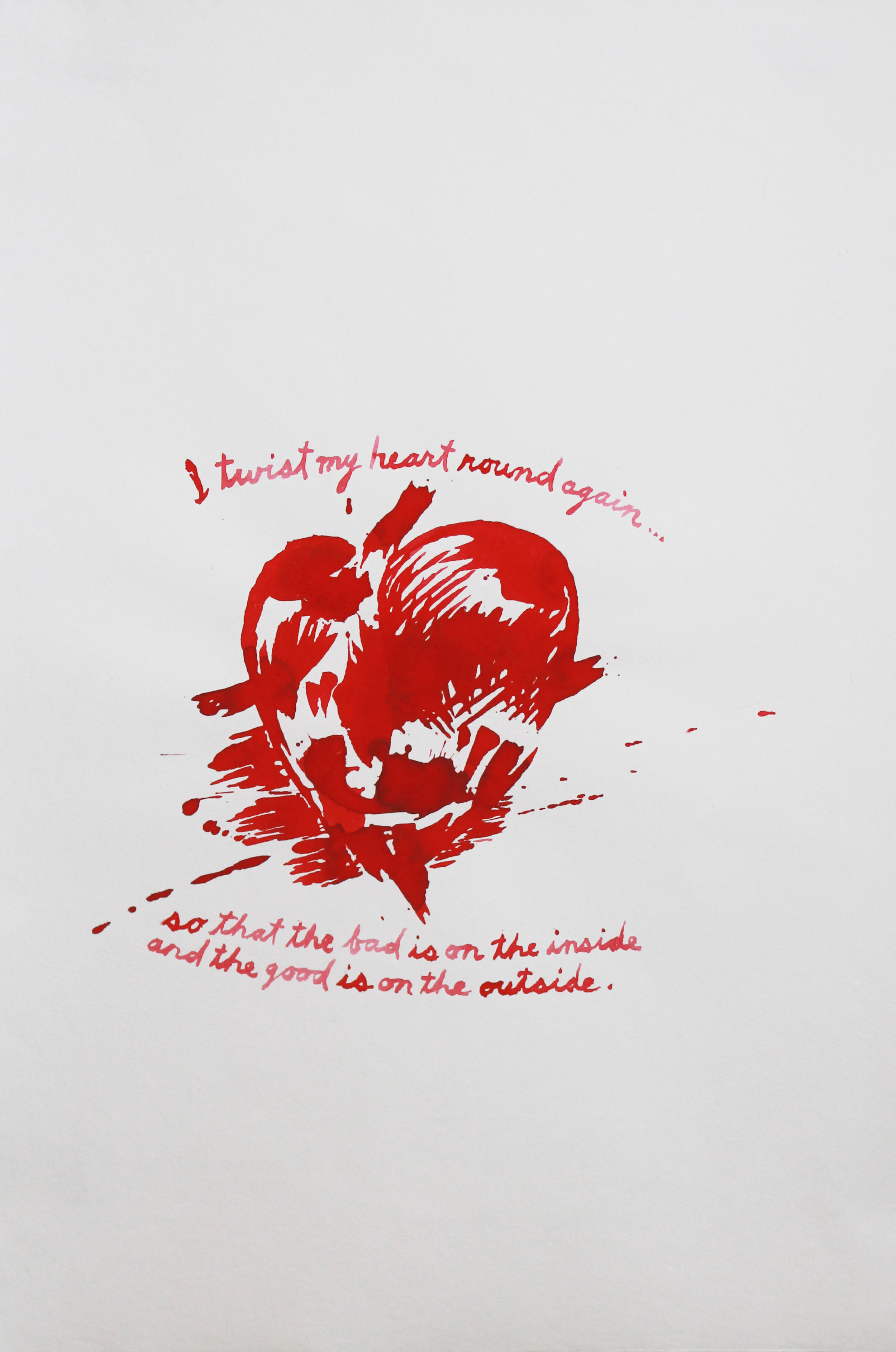 Raymond Pettibon (Born 1961)   No Title (I twist my heart), 1994  Ink on Paper Signed and dated on verso Image: 8 x 9 inches; Sheet: 18.25 x 12.25 inches; Framed: 22.5 x 16.5 inches Estimate: $12,000/$16,000
