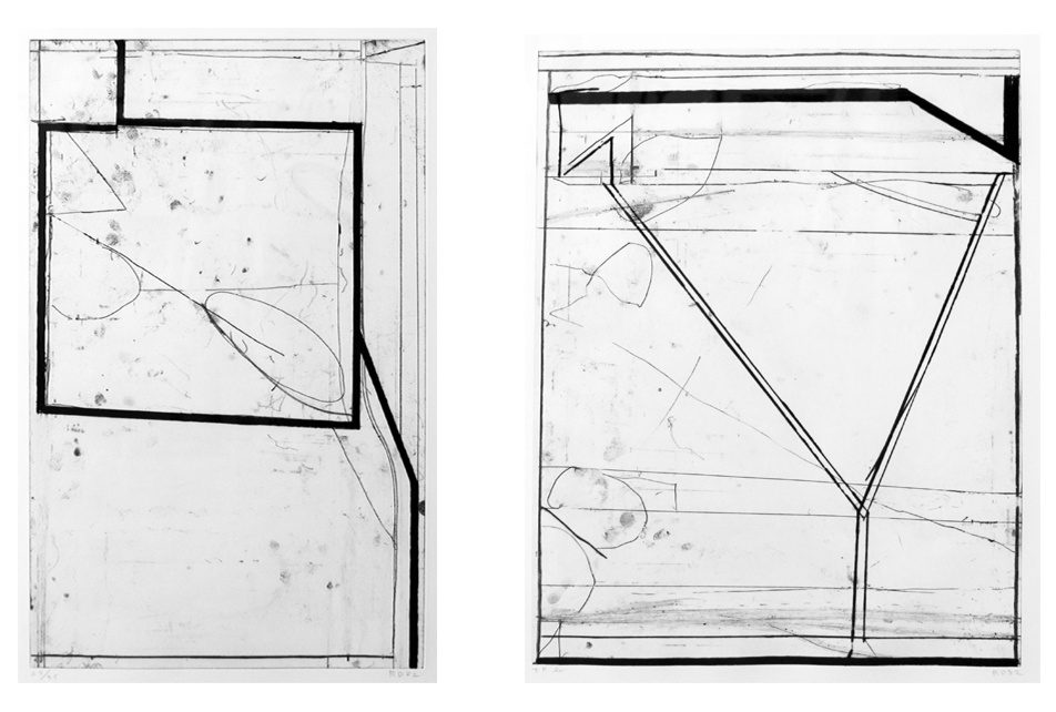 """Richard Diebenkorn    (1922-1993)    Lot of Two    Two Way , 1982 Softground etching From the numbered edition of 35 Initialed, numbered and dated in pencil on recto Image: 24 x 15 inches; Sheet: 40 x 26 inches; Framed: 42.5 x 28.5 inches   Softground Y , 1982 Softground etching Trial Proof aside from the numbered edition of 35 Initialed, dated and annotated """"TP"""" in pencil on recto Image: 24 x 18 inches; Sheet: 40 x 26 inches; Framed: 42.5 x 28.5 inches Estimate: $5,000/$6,000 (Lot of Two)"""