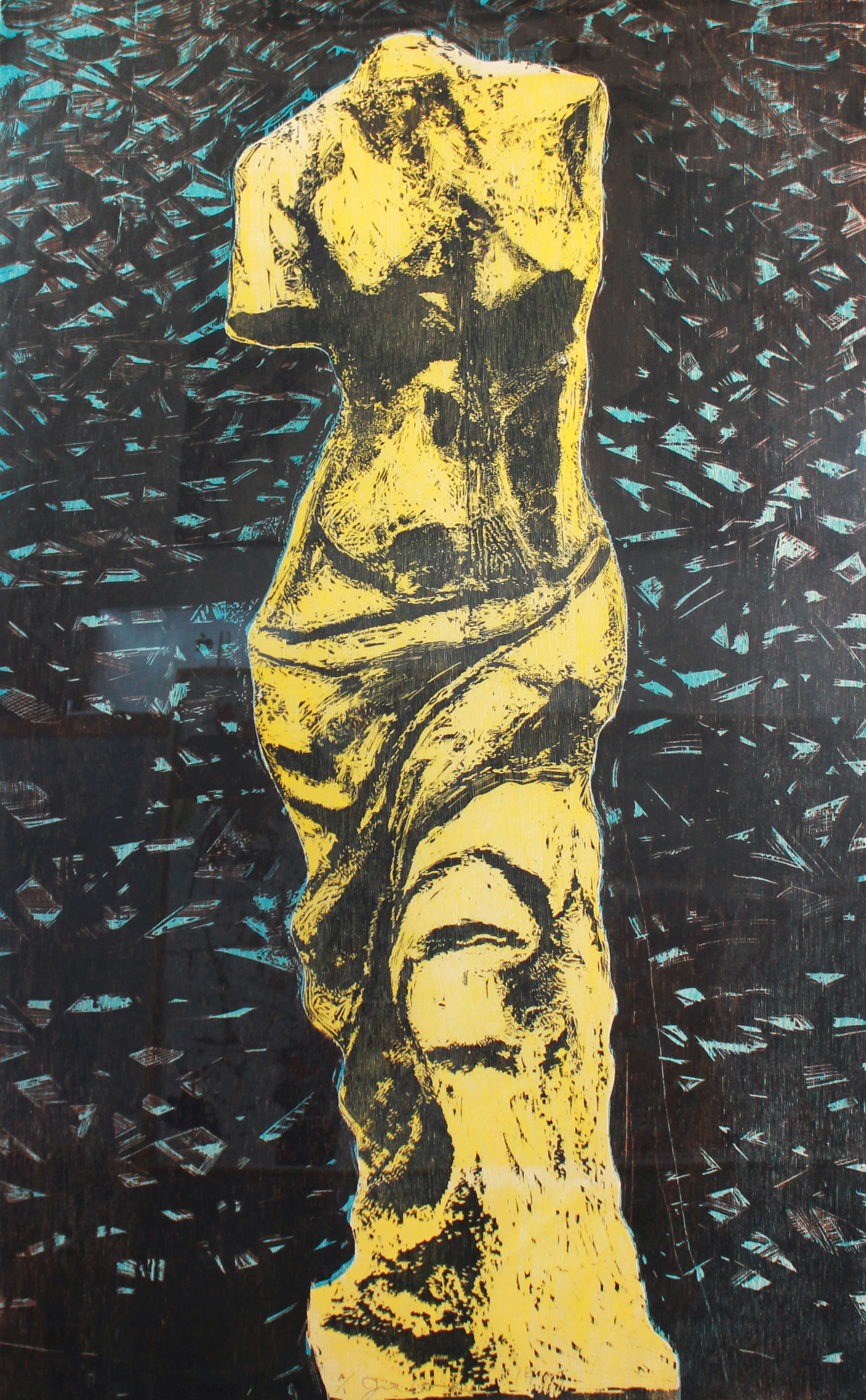 Jim Dine (Born 1935)   Yellow Venus , 1984 Woodcut print Edition of 20 Signed, numbered and dated in ink on recto Sheet: 60 x 37 inches; Framed: 69 x 46 inches Estimate: $3,500/$4,500